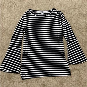 Black and White striped top. Flared sleeves